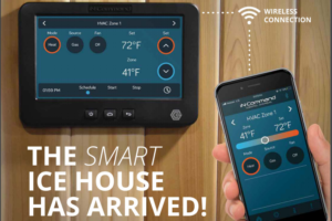 """""""The Smart Ice House Has arrived"""" text with touch screen panel and smart phone"""